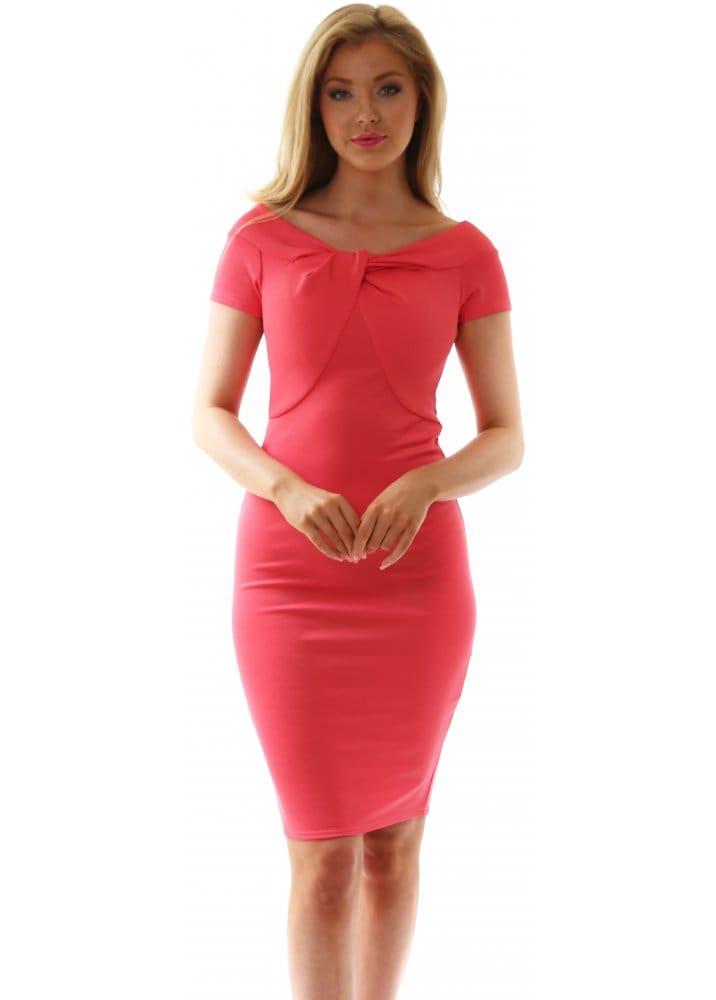 Goddess London Dress Coral Midi Dress Wear Day Or Night