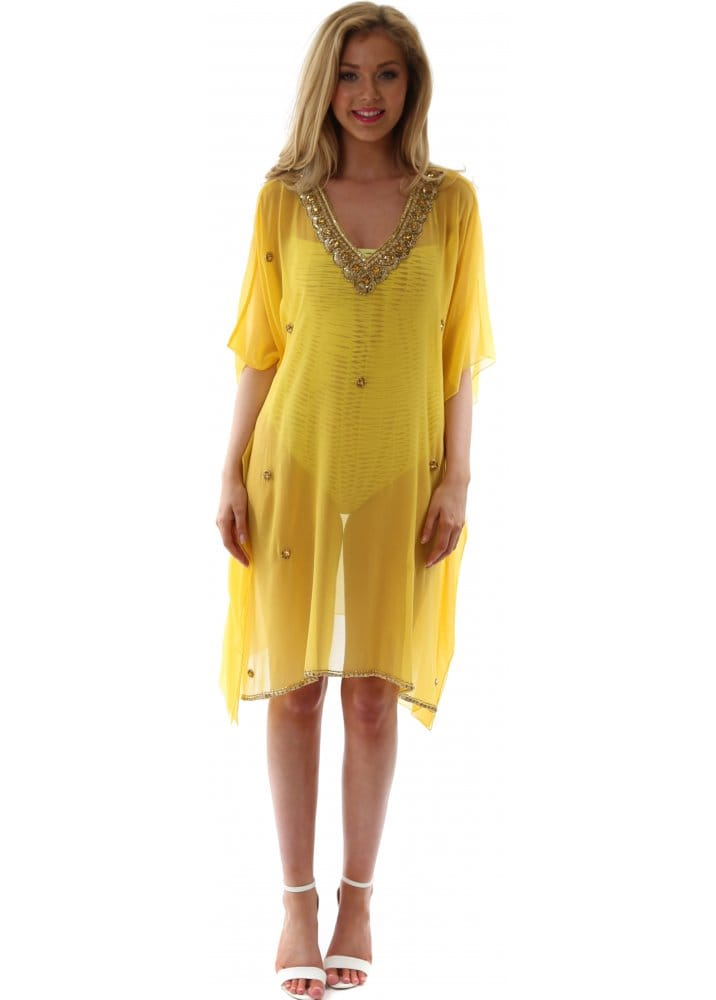 Yellow Kaftan Glamorous Designer Kaftan Beaded Summer