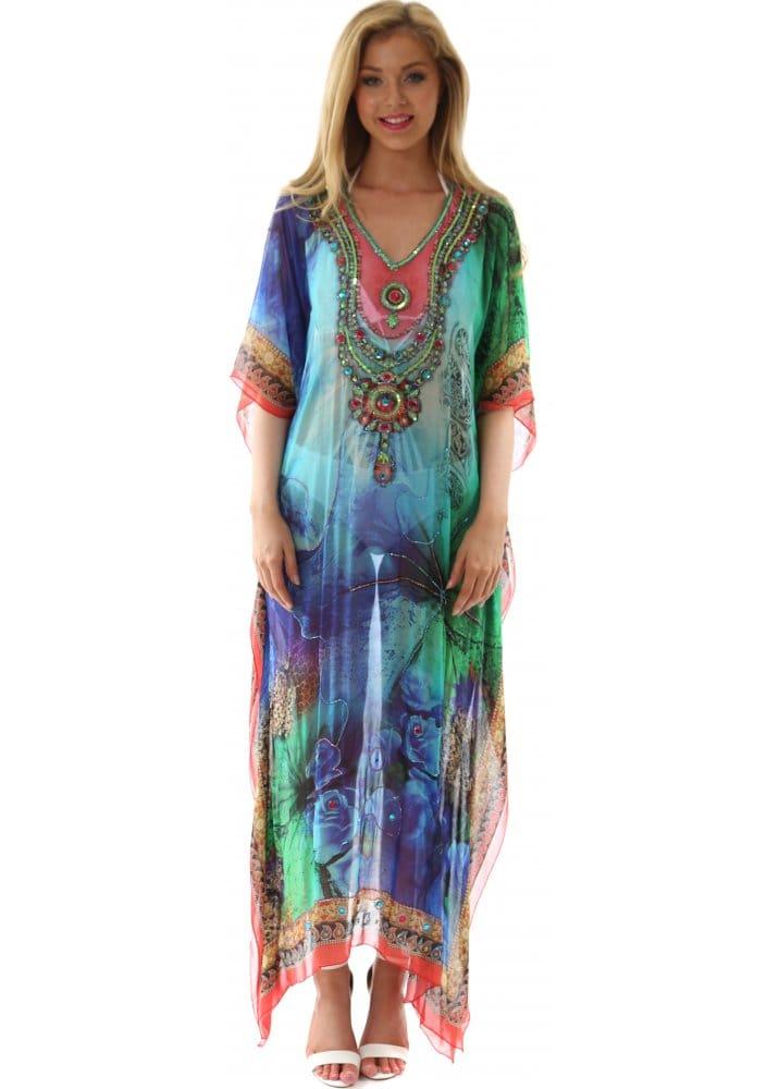 Blue Amp Turquoise Kaftan Designer Maxi Length Kaftan For