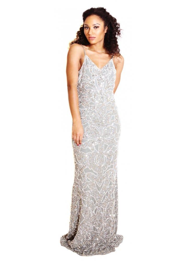 Silver embellished maxi dress
