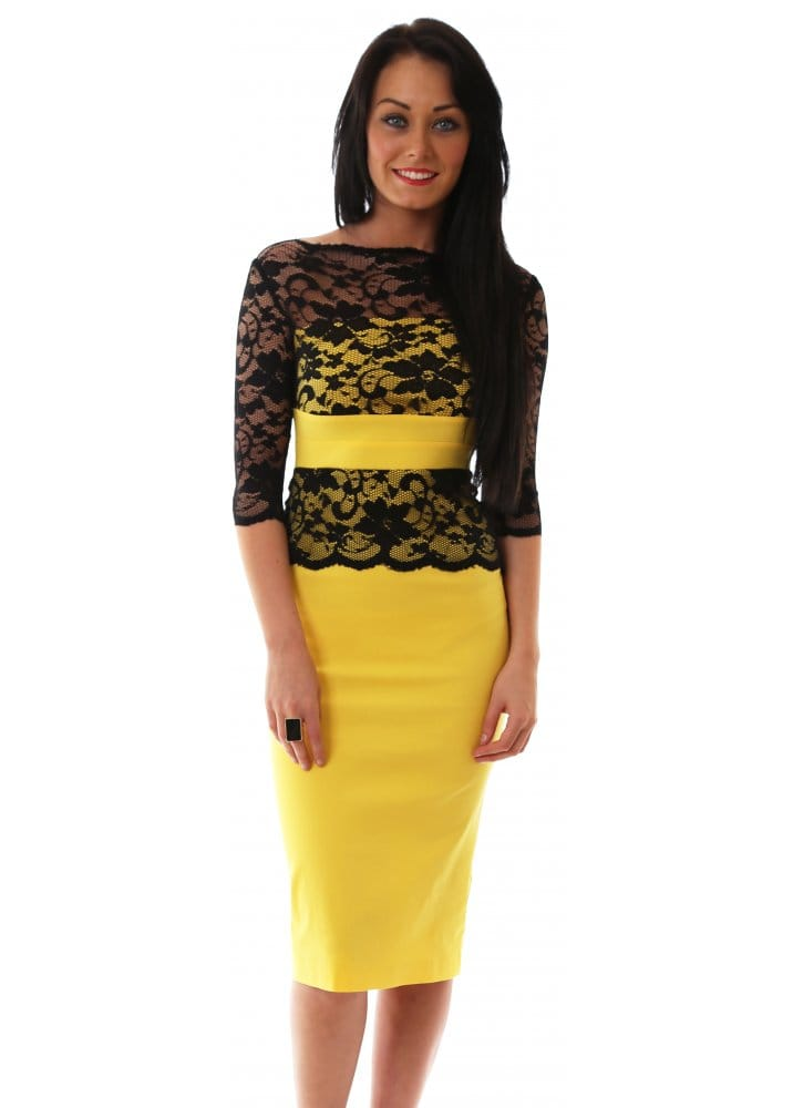Yellow And Black Lace Dress