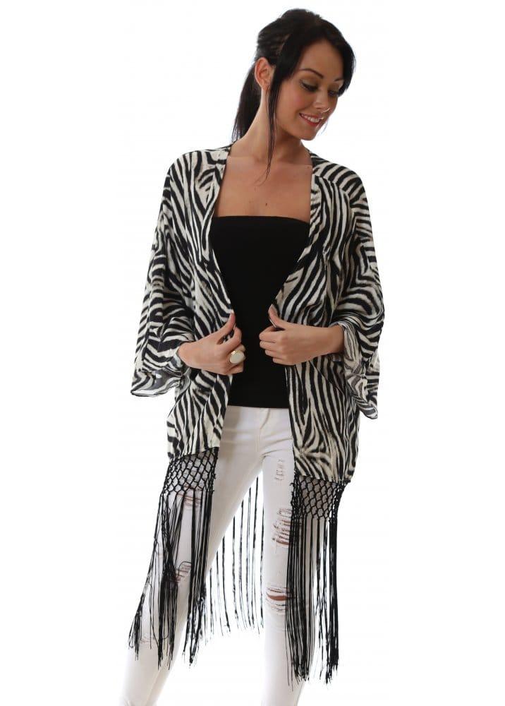 Zebra Print Kimono Tasselled Kimono Summer Kaftans