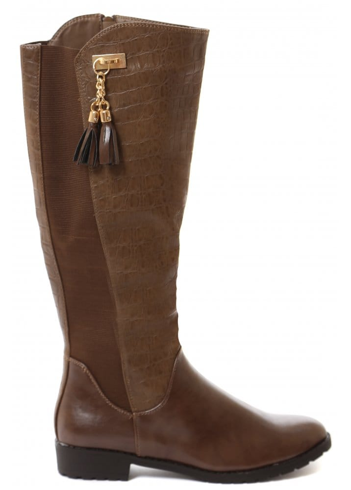 Riding Boots Moc Croc Brown Knee High Riding Boots