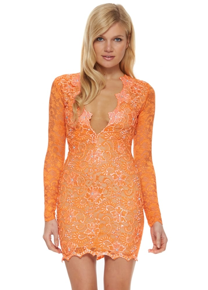Holt eli dress in orange holt orange hand painted lace dress for Holt couture dresses