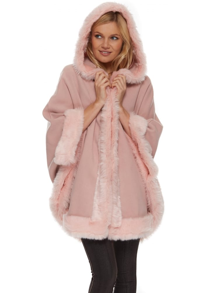 R Amp J Pink Poncho Pink Faux Fur Cape Hooded Pink Cape