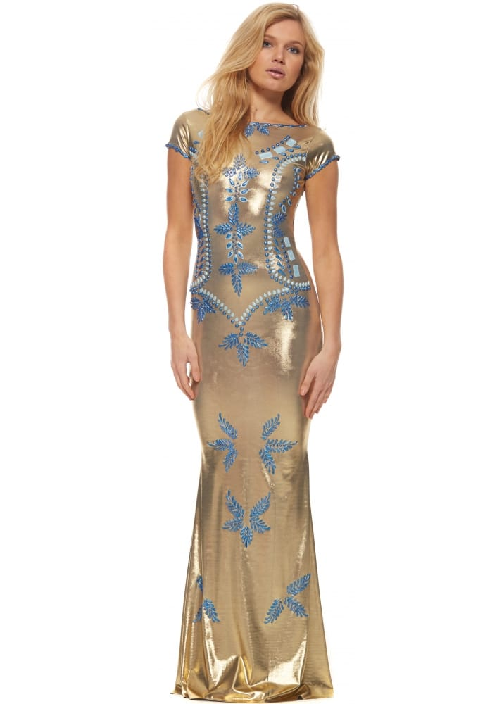 Holt maison luxe holt shefa gold evening gown with blue for Holt couture dresses