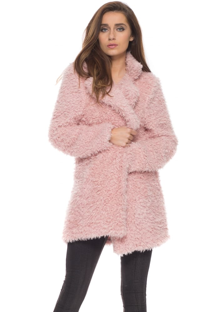 Vera & Lucy Coat | Baby Pink Fluffy Coat | Pink Faux Fur Coat
