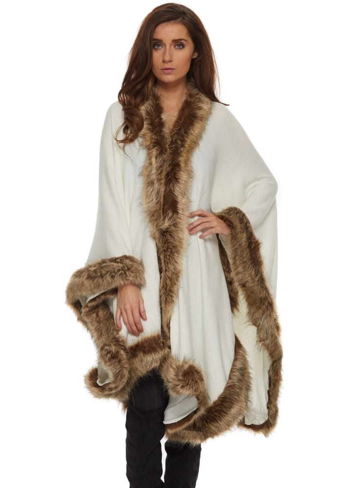 Urban Mist Cape Faux Fur Trim Cape Knitted Cape With