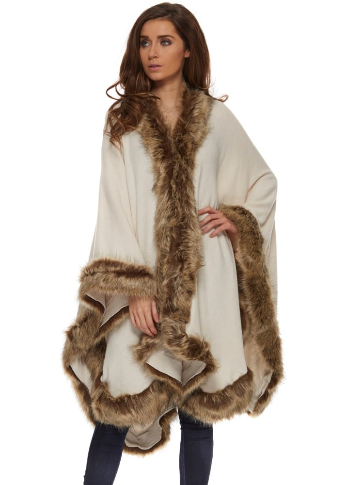Urban Mist Cape Beige Knitted Cape With Brown Faux Fur Trim
