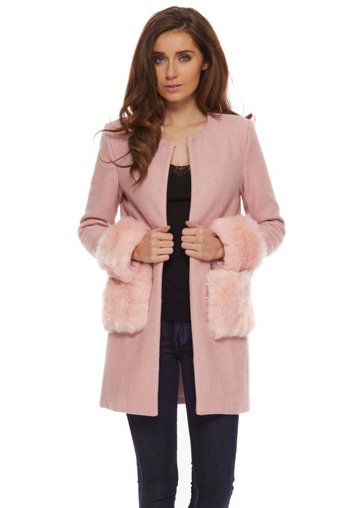Vera &amp Lucy Coat | Baby Pink Faux Fur Cuffs &amp Pockets Short Coat