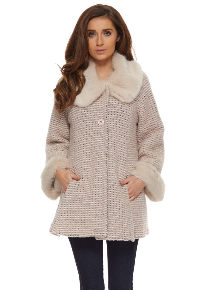 J&L Paris Coat | Pink & Beige Short Swing Coat With Faux Fur Collar