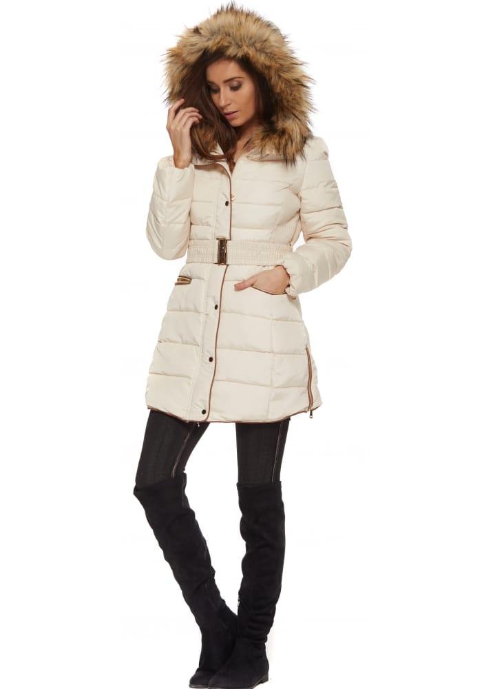Cream Fur Coat With Hood | Down Coat