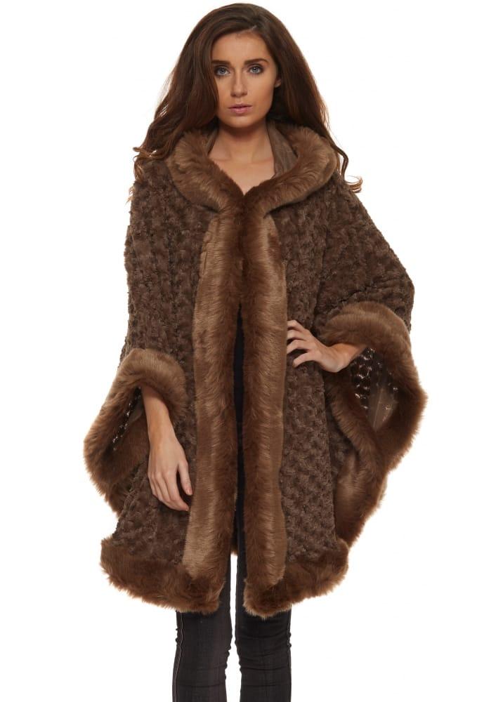 Faux Fur Cape | Brown Textured Faux Fur Cape With Hood