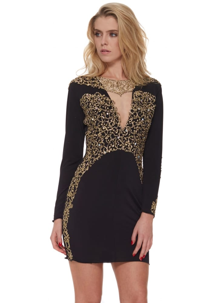 Holt amber dress in black buy holt dresses designer for Holt couture dresses