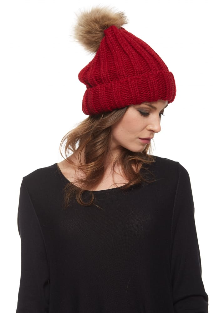 Urban Mist Red Chunky Knit Beanie Hat With Faux Fur Bobble