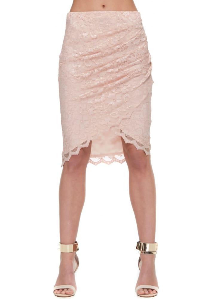 Nude Pink Lace Asymmetric Wrap Skirt - Midi Skirts
