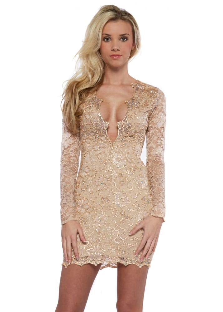 Holt eli dress in nude lace hand painted buy holt for Holt couture dresses
