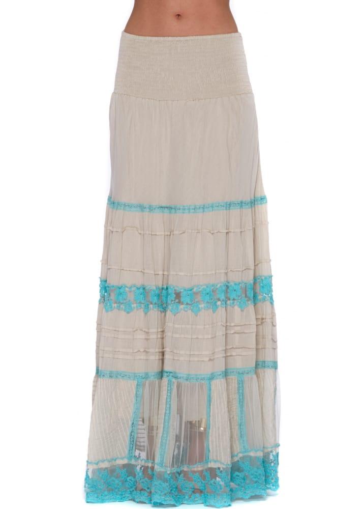 antica sartoria maxi skirt ecru turquoise cotton maxi