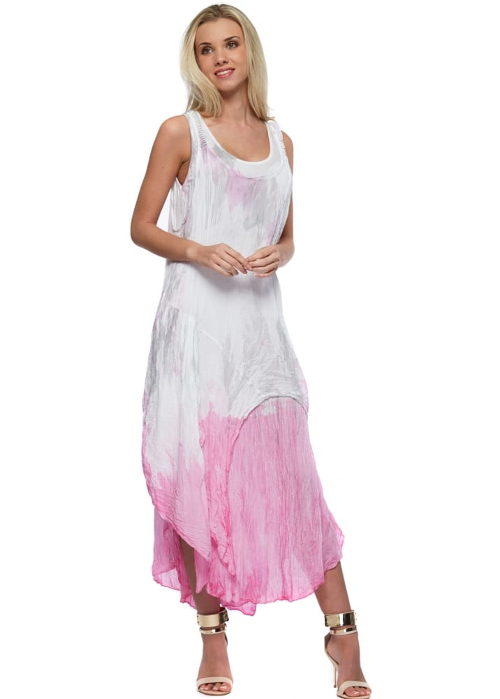 Made In Italy Maxi Dress Pink Tie Dye Beach Maxi Dress
