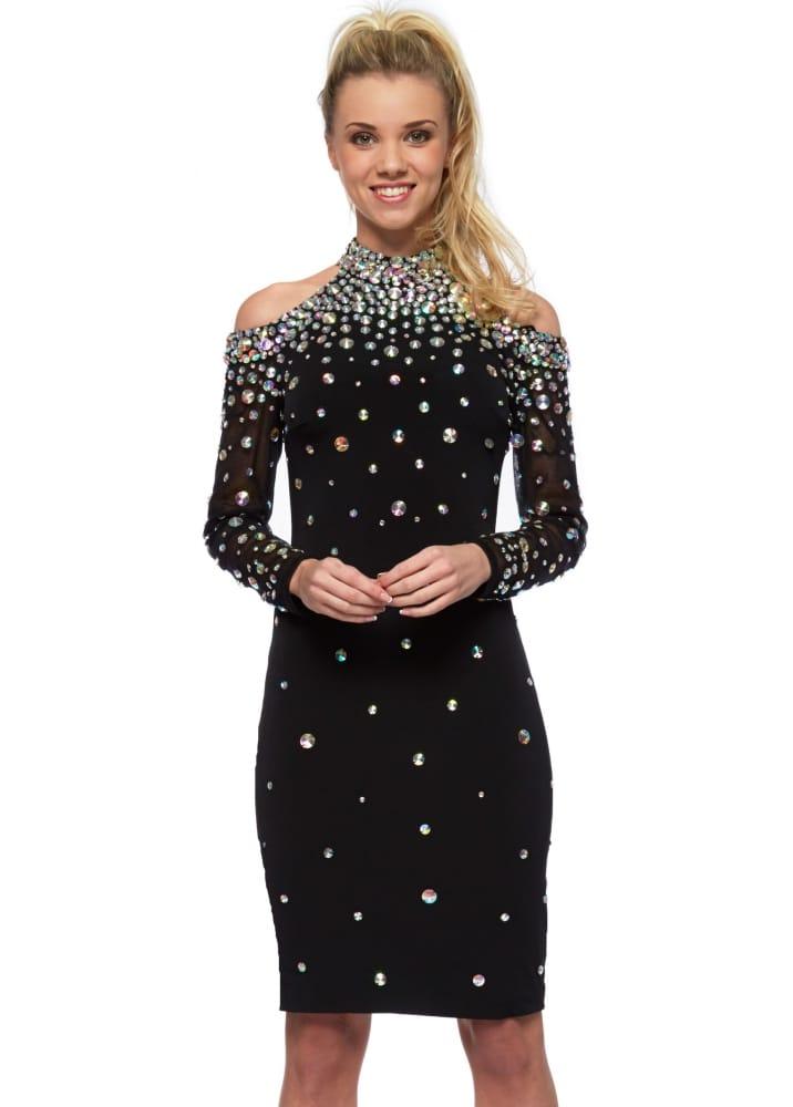 Corset & Dresses Kiara Dress | Black Crystal Mesh Party ...