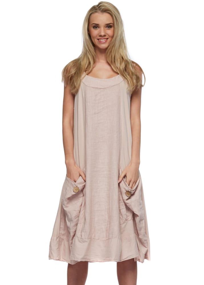 Sugar Babe Baby Pink Linen Tunic Dress Designer Linen Dress