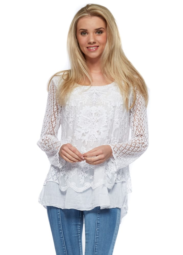 White Crochet Boho Top