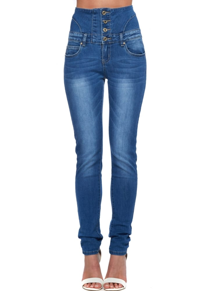 toxik3 high waisted denim blue jeans ladies designer jeans