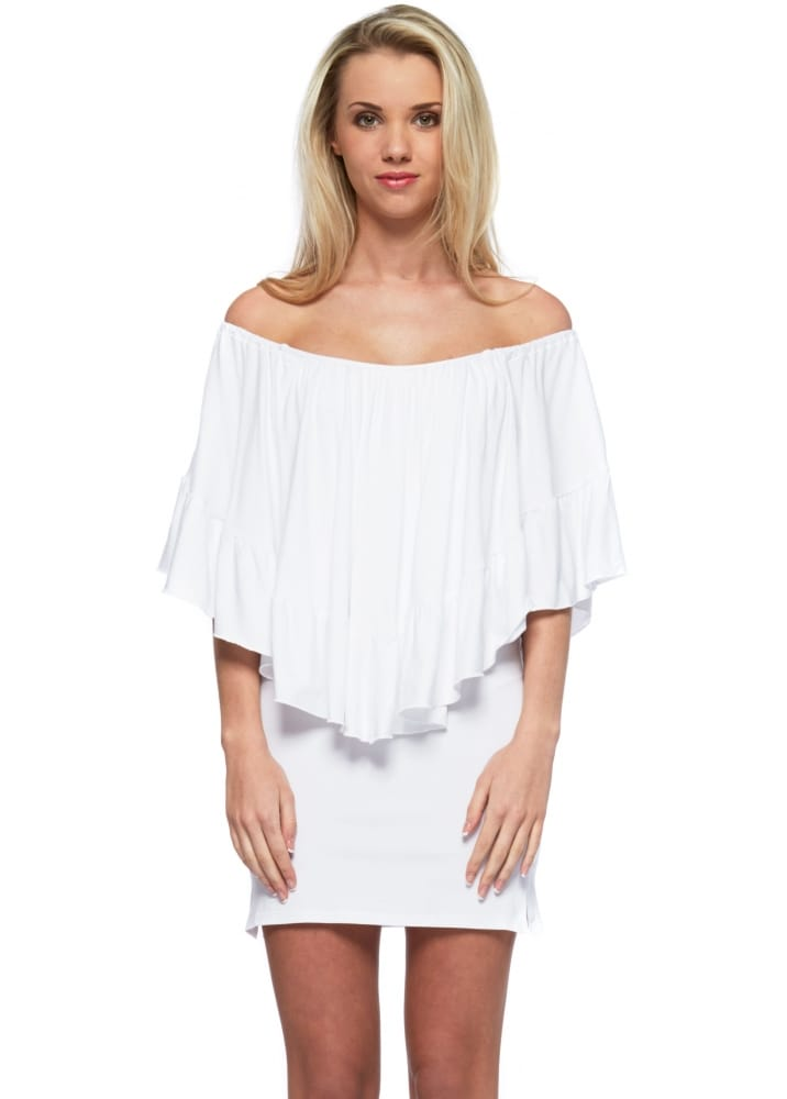 Pink Flame Off The Shoulder White Cape Mini Dress