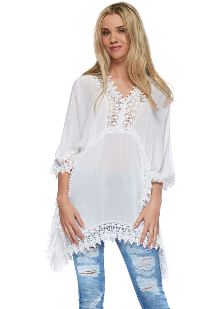 Monton Top Italian White Cotton Lace Trimmed Summer