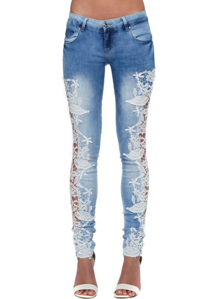Blue Ripped Lace Jeans Lace Sides Stretch Fit Jeans