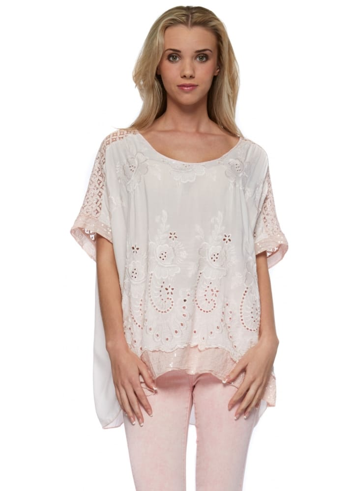 Sugar Babe Pink Sequinned Top  Embroidery Anglaise Front