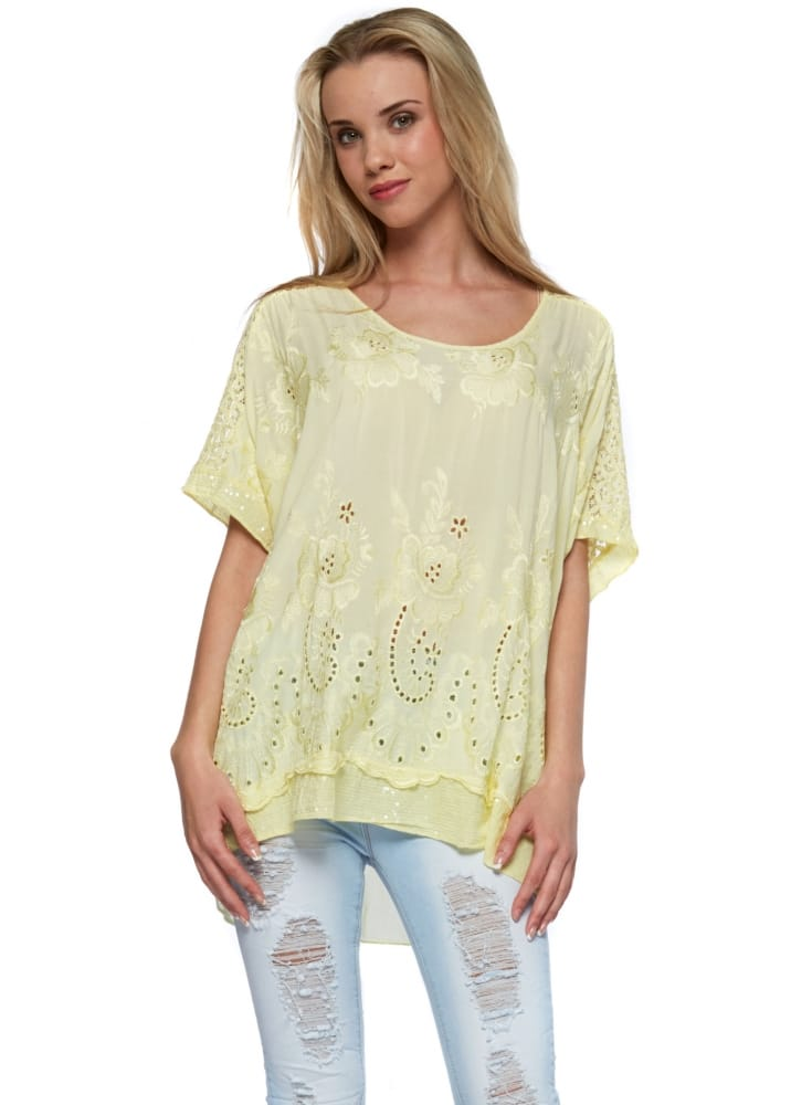 Sugar Babe Sequinned Top  Yellow Embroidery Anglaise Front