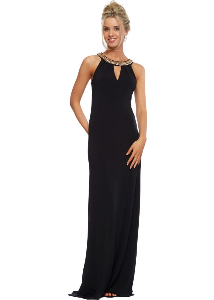 Black Maxi Dress With Chunky Gold Necklace