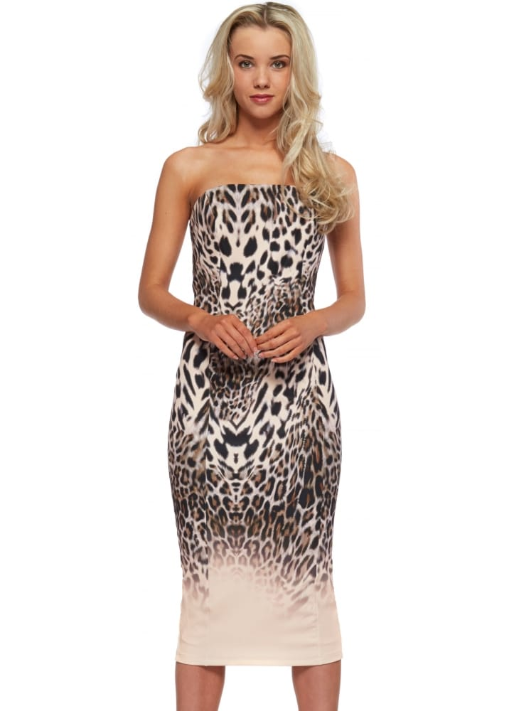 Genese Pink Leopard Pencil Dress Genese Dresses Designer