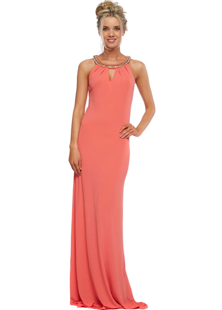 Coral Maxi Dress With Chunky Gold Necklace