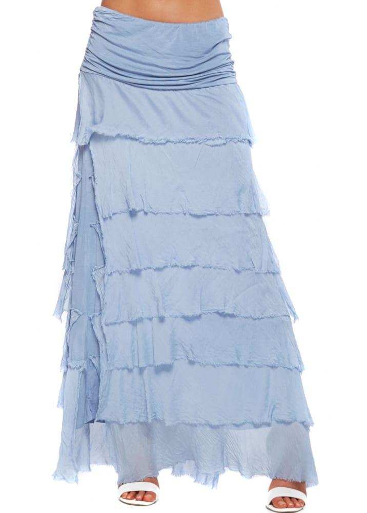 sugar maxi skirt blue frayed silk maxi skirt