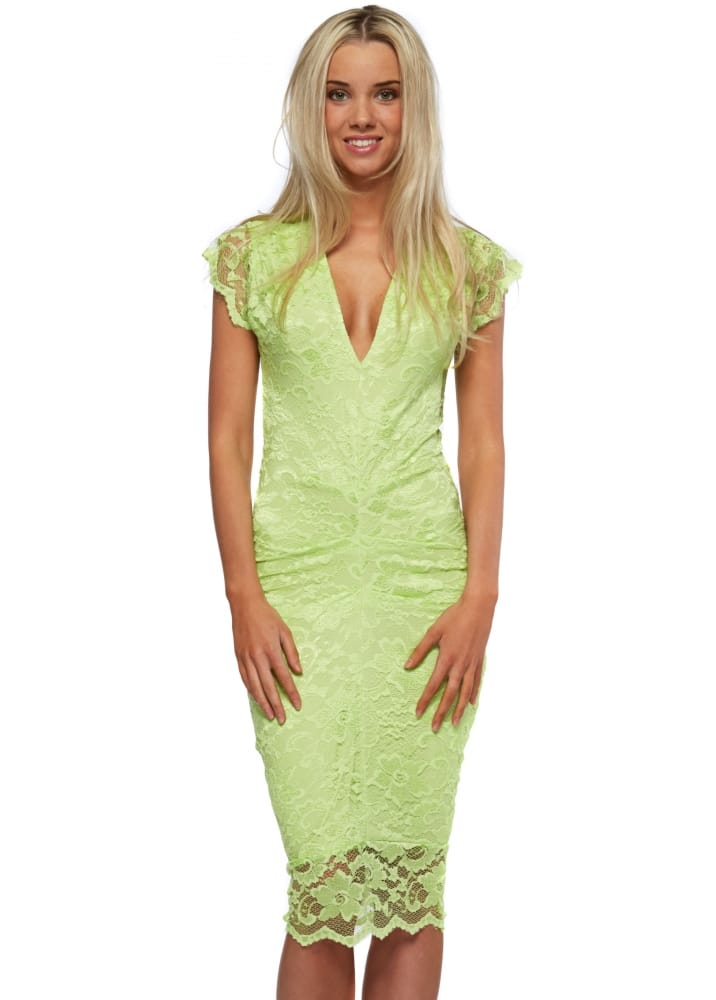 Lemon-Lime Party Dress with Ruffles - Chartreuse/ Lemon-Lime V Neckline Midi Dress with Ruffles • 95% Polyester / 5% Spandex • Size S = 0 - 4 Great for a Night Out with Friends or a .