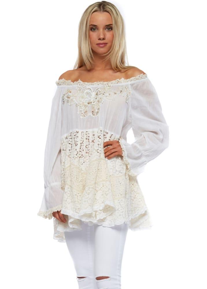 Antica Sartoria White Cotton Amp Lace Off The Shoulder Top