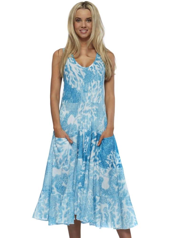 Antica Sartoria Turquoise Cotton Summer Beach Dress