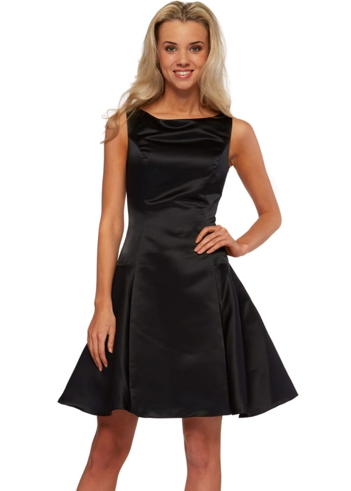 The Little Black Dress Victoria Dress Black Satin Skater