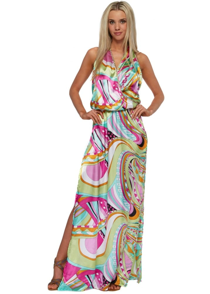 Holt maxi dress multicoloured gold strappy maxi dress for Holt couture dresses