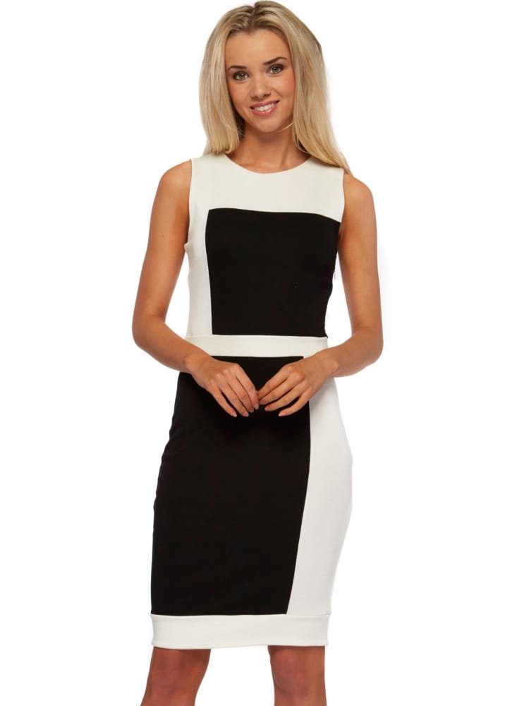 Monochrome Colour Block Dress Black Amp White Midi Dress