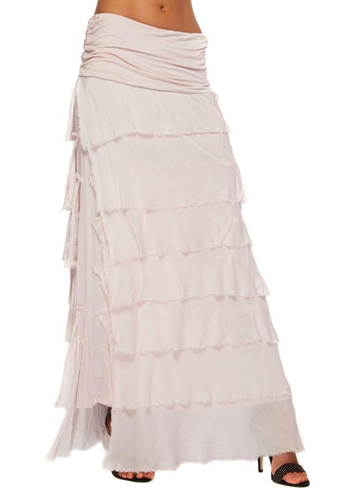 sugar maxi skirt baby pink silk