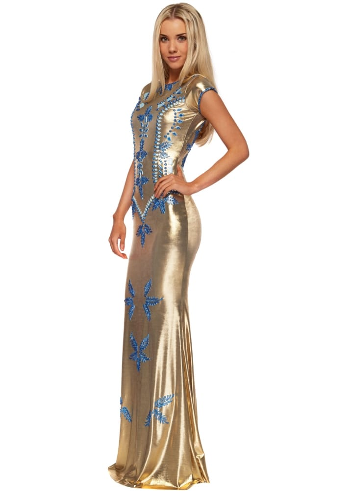 Holt Shefa Dress - Gold Evening Gown With Blue Paint Accents