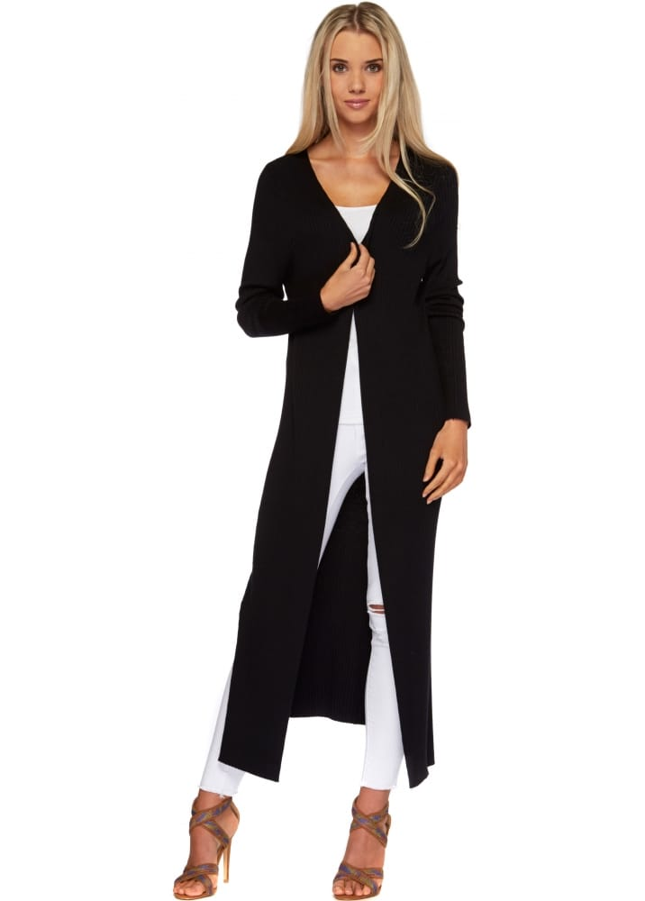 Laetitia Mem Black Cardigan - Long Black Skinny Rib Maxi Cardigan