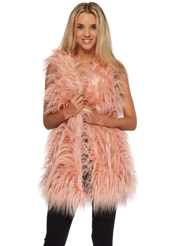 Vera Amp Lucy Pink Fluffy Faux Fur Gilet Pink Towie Waistcoat