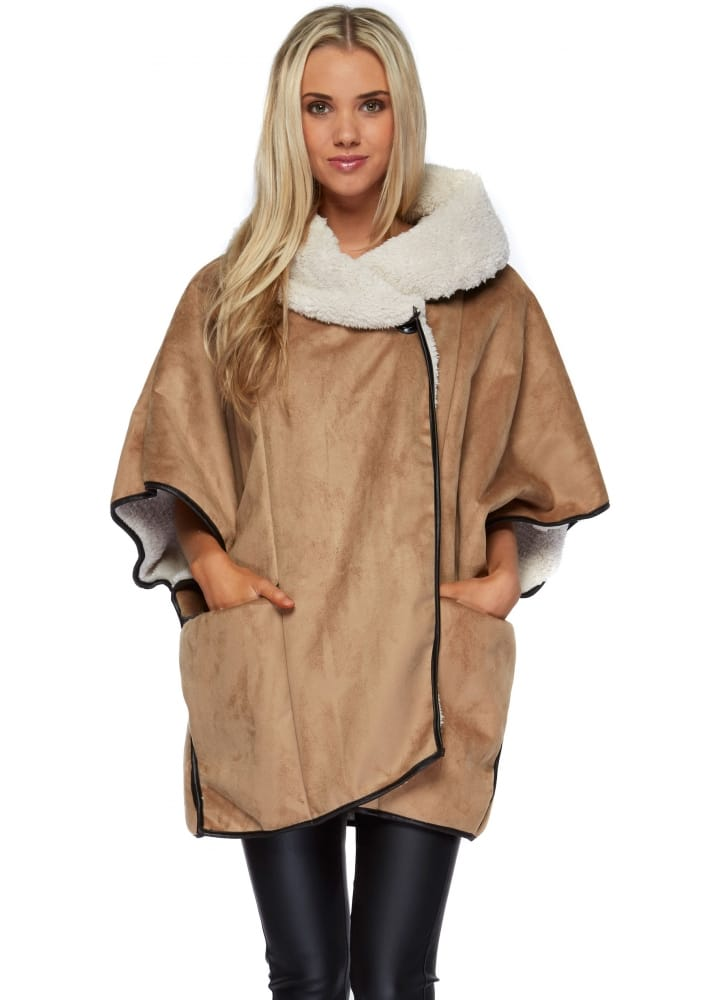 Camel Shearling Cape Coat - Faux Sheepskin Fur Jacket