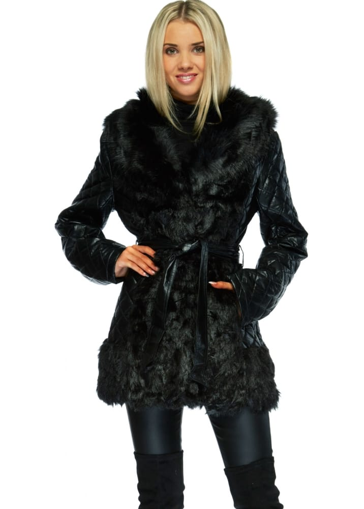 Black Quilted Faux Leather Jacket With Faux Fur
