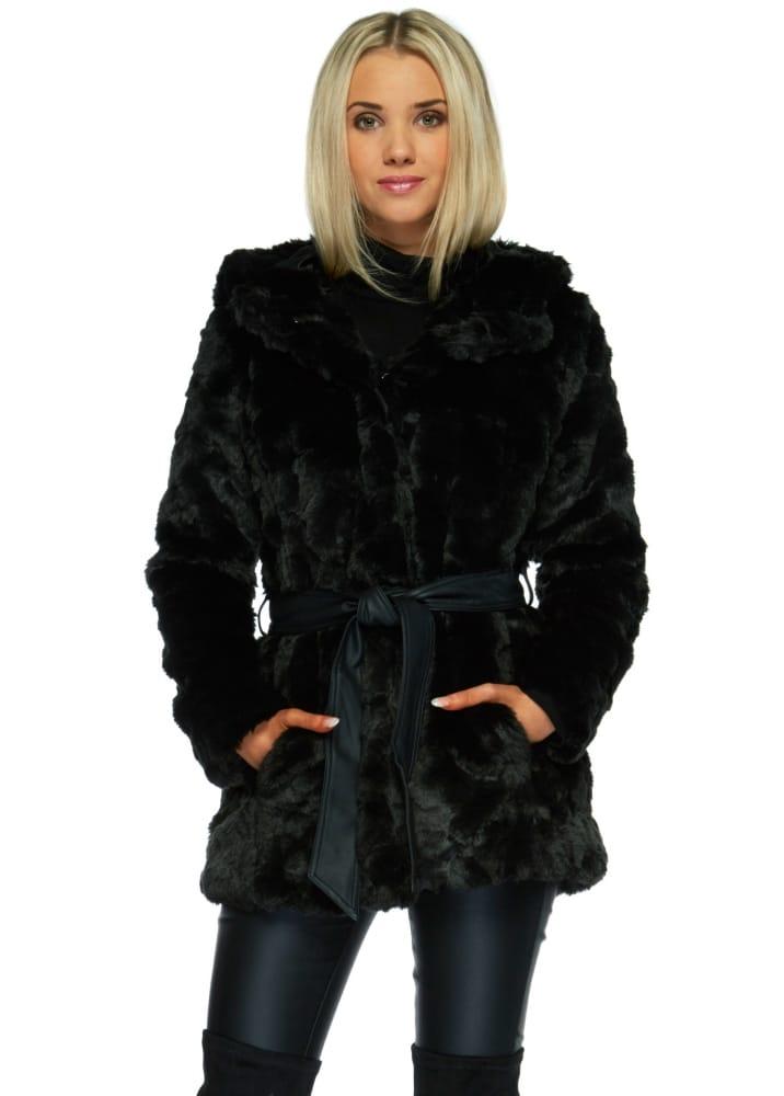 Black Faux Fur Hooded Jacket Black Hooded Coat