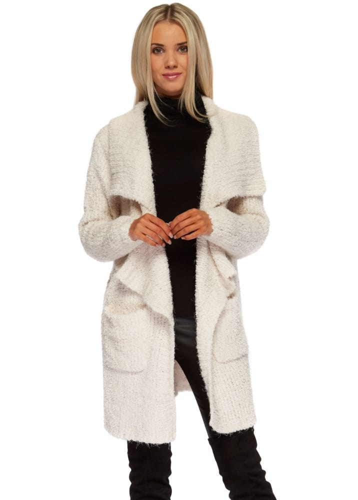Cream Waterfall Cardigan Coat Ladies Cream Cosy Cardigan
